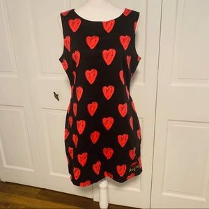 Desigual Red Heart Print Black Sheath Dress 44/12